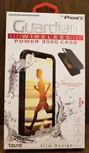 best website ee318 d83ed Details about Tzumi iPhone X Waterproof Case & Guardian Power 3000 2-in-1  PowerBank Case Combo