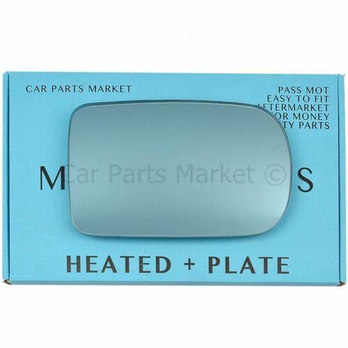 Para BMW 7 Series 94-01 Lado Derecho Cristal Espejo De Ala Plana Azul Eléctrico Placa