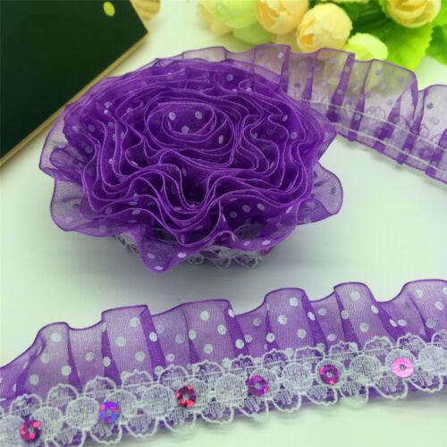 2-Couche Violet Organza Dentelle Froncé Plissé Orné De Sequins Trim LS55 environ 4.57 m Nouveau À faire soi-même 5 Yd
