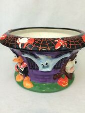 Large Looney Tunes Halloween Candy Container Bowl Ceramic Taz Tweety Bugs & more