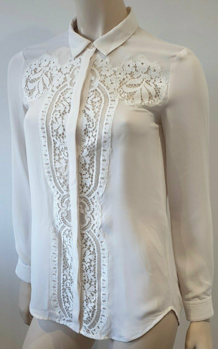 THE KOOPLES Off White Cream Collared Lace Insert Long Sleeve Blouse Shirt Top XS