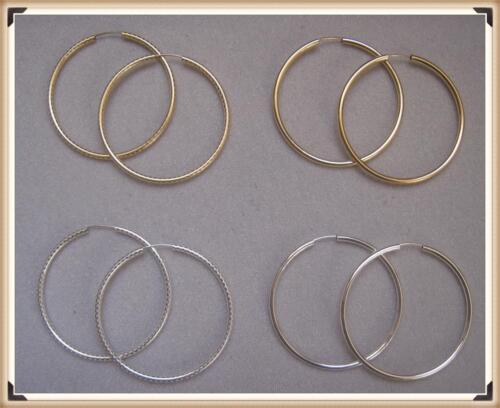 "90//8 58mm 2.28/"" 14 Kt Gold Filled /& Sterling Silver Endless Hoop Earrings"