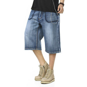 Mens-Jeans-Shorts-Hip-Hop-Denim-Shorts-Long-Loose-Fit-Blue-Plus-Size-32W-46W-13L