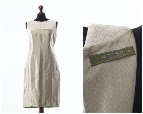 Women/'s ETRO Silk Linen Sleeveless Top Dress Beige Size US 8 UK 12