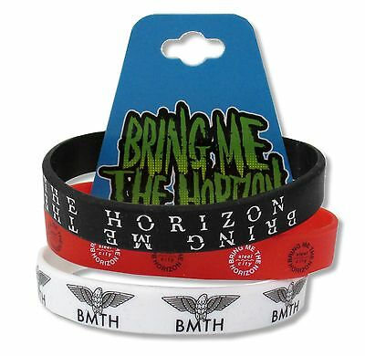 3-PACK RED WHT BLK  SILICONE WRISTBANDS NEW OFFICIAL BMTH BRING ME THE HORIZON