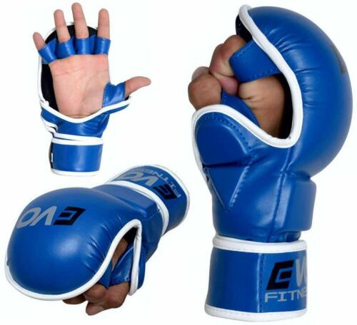 EVO Leather MMA Gloves Boxing Combat Training Grappling Quick Wrap Cage Fighting