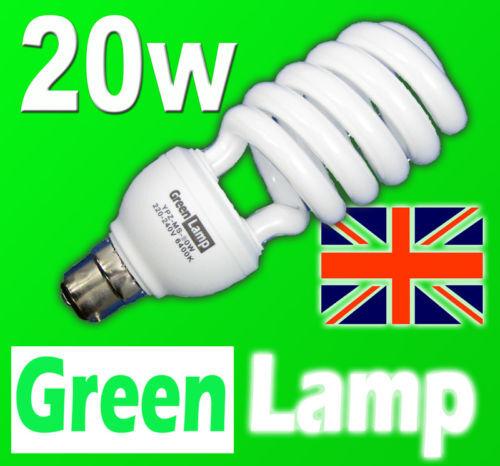 50 x 20w 6400k Day-light SAD Energy Saving CFL bulb BC B22 Bayonet