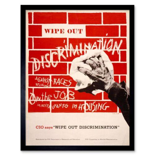 Propaganda Civil Rights Equality Discrimination Cio Usa 12X16 Inch Framed Print