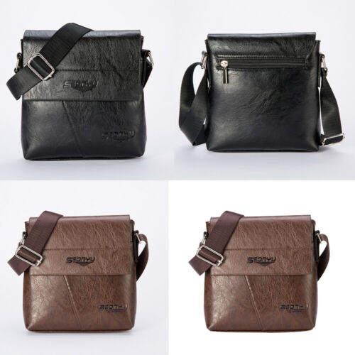 Mens Leather Business Handbag Messenger Shoulder Bag Tote Flap Bag Chest Bag