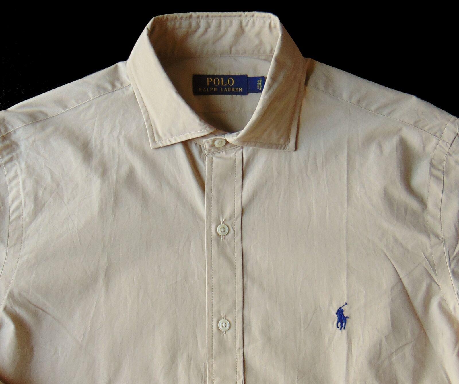 Men's POLO RALPH LAUREN Khaki Tan Poplin Cotton Shirt S Small NWT NEW Nice