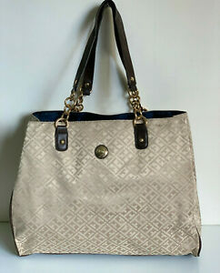 NEW-TOMMY-HILFIGER-MONOGRAM-BEIGE-BROWN-GOLD-CHAIN-LARGE-SHOPPER-TOTE-BAG-99