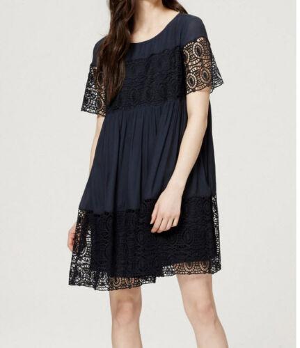 XS NWT $98 Size SP Ann Taylor Loft Fresh Navy Lace Babydoll Dress