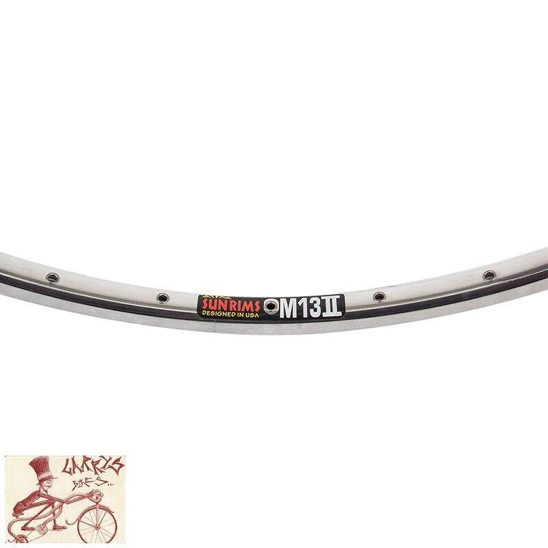 SUN RINGLE M-13 --- 27  X 1-1 4  32H II Plata Pulido Llanta De Bicicleta