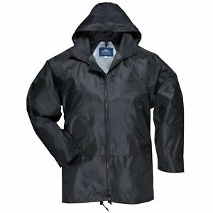 Mens-Waterproof-Nylon-Hooded-Zip-Up-Rain-Jacket-With-Large-Hip-Pockets-XL-Black