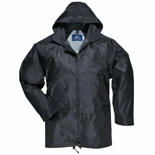 Mens Waterproof Nylon Hooded Zip Up Rain Jacket With Large Hip Pockets XL Black