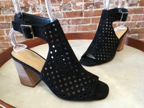 Marc Fisher Black Perforated Suede Peep-toe Birdie Block Heel Sandal NEW