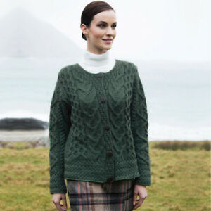 1e5403536241ac Image is loading CARRAIG-DONN-Cardigan-Sweater-Cable-Knit-Irish-Aran-