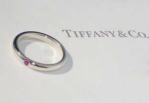 fc54ca2bc Tiffany & Co Elsa Peretti Sterling Silver Pink Sapphire Band Ring | eBay