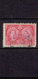 CANADA-1897-THREE-CENT-QUEEN-VICTORIA-JUBILEE-SCOTT-53-USED