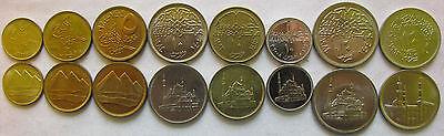 "Egypt set of 8 coins 1983-2008 ""1+2+5+10+10+10+20+20 piastres"" UNC"