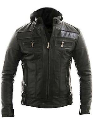Racing Jacket Motorbike Motorcycle Leather Biker Jacket Detach Hood - ALL SIZES