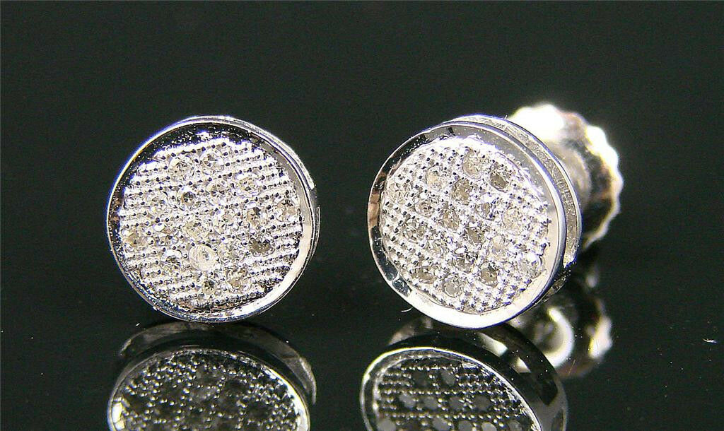 10K Mens Ladies Round Pave Diamond Stud Earrings 8Mm
