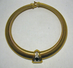 GIVENCHY-RUNWAY-COUTURE-GOLD-GREEN-CLEAR-STONE-NECKLACE-WIDE-VINTAGE-17-INCHES