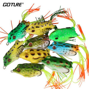 9PCS Frog Soft Fishing Lures Surface Crankbaits Bass Carp Bait Hook Tackle