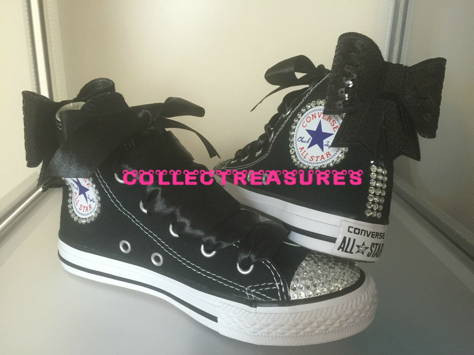 Custom Crystal Diamante Bling noir Party Wedding Converse
