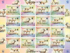 1998 WWF REPUBLIQUE DU NIGER WILD ANIMALS GAZELLA 16 STAMP MNH SHEETLET