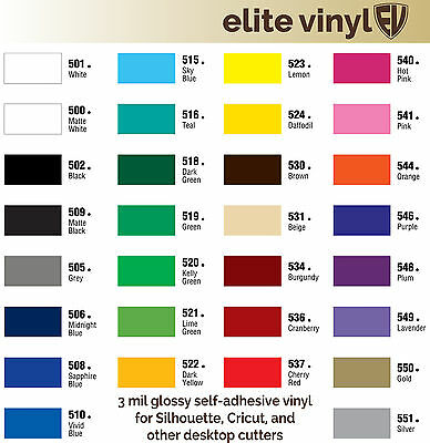 """12"""" x 10' Roll Permanent Adhesive Glossy Vinyl for Crafts, Decals, Signs"""