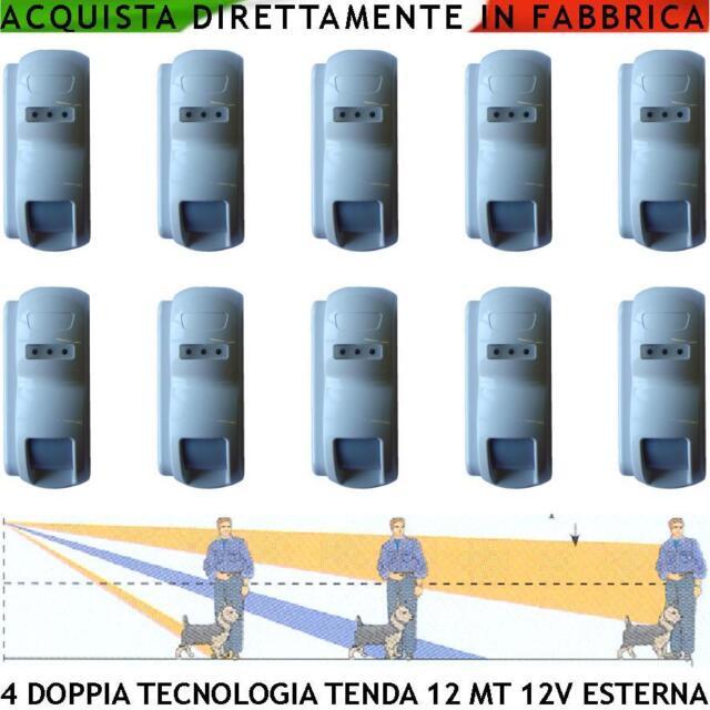 Infrarosso Microonda 10 Sensori Esterni a Tenda Allarme Impianti Antifurto Filo