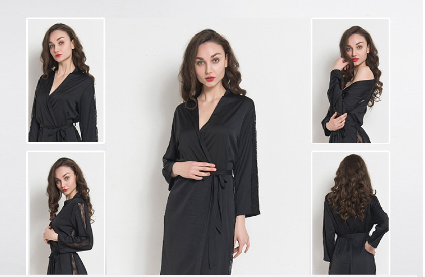 709c5fbd3f Women Lace Trim Kimono Pajamas Sleeve Long Wrap Robe Cover Sleep Wear Dress