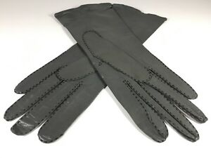 Antique-Leather-Women-Gray-Gloves-Three-Point-Stitch-Vintage-20s-Fashion