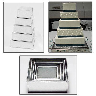 "5 TIER SQUARE WEDDING CAKE TINS 6"" 7"" 8"" 9"" 10"""