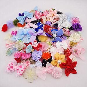 50pcs-Ribbon-Bows-Flowers-Appliques-Craft-Lots-Mix-E87