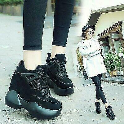 Korean Women/'s Girls Wedge High-top Heels Platform Casual Fashion Sneakers Shoes