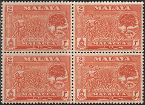 MALAYSIA-MALAYA-MALACCA-1960-2c-ORANGE-B-4-MNH