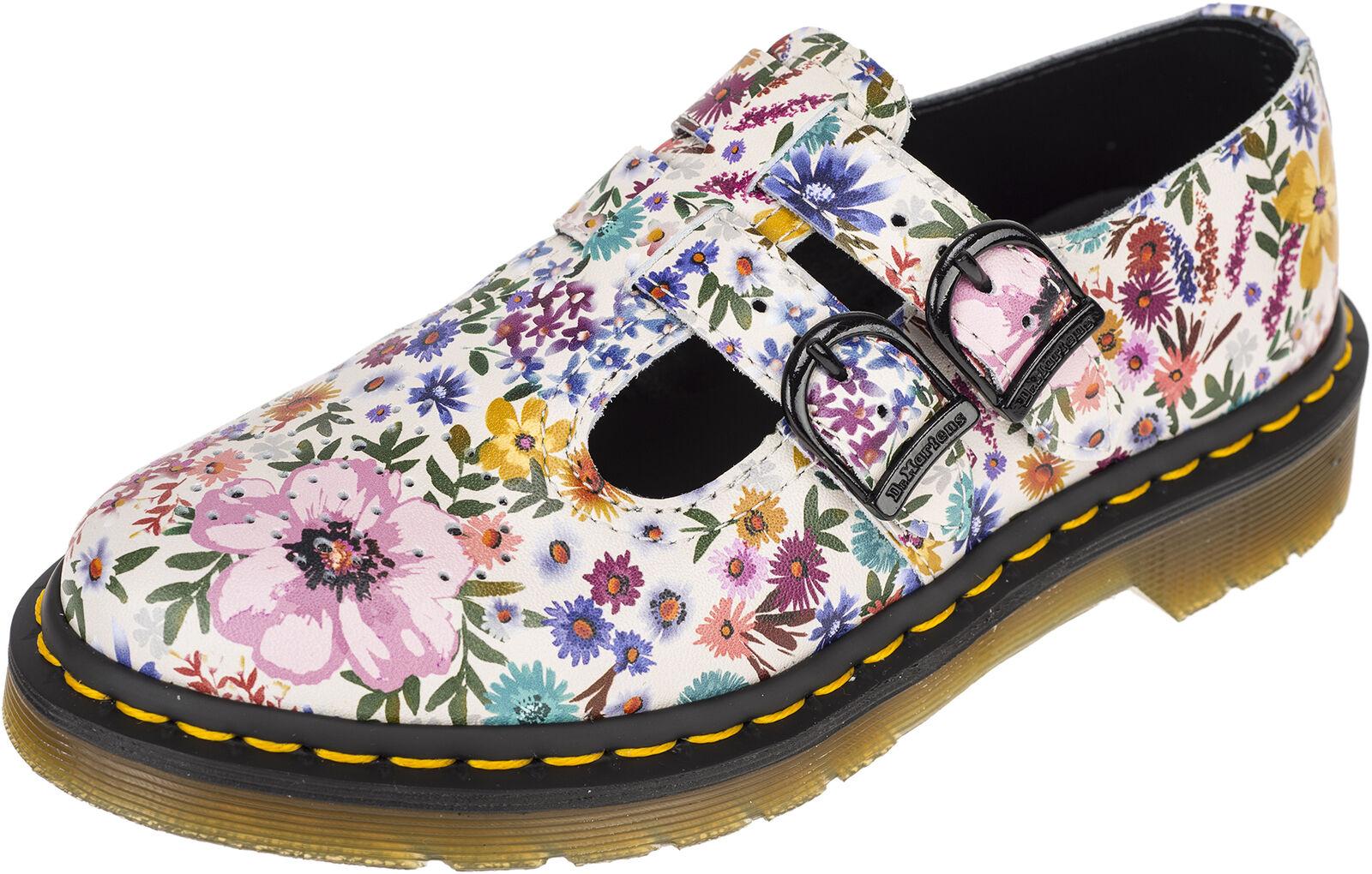 DR. Martens 8065 Mary Jane WANDERLUST fiori Fibbie Scarpe Basse Rockabilly