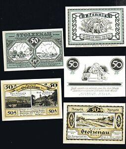 5x-Notgeld-Kreis-STOLZENAU-Kr-Nienburg-Weser-50-F-diverse-Motive-1921-top