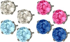 Genuine-Sterling-Silver-4-Pairs-Of-Swarovski-Elements-Stud-Earrings