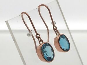 Beautiful-Blue-Topaz-rose-gold-French-hook-earrings