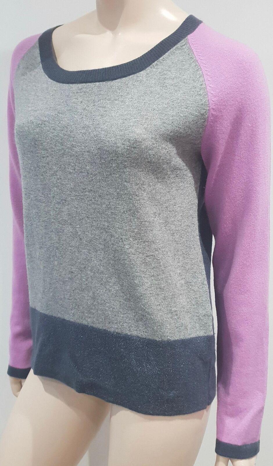 LAUREL Pink Charcoal Grey Metallic Wool Cashmere Knitwear Jumper Sweater Top 10