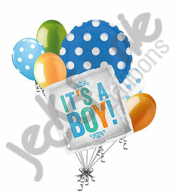 7 pc It's a Baby Boy Balloon Bouquet Shower Welcome Home Blue Orange Lime Green