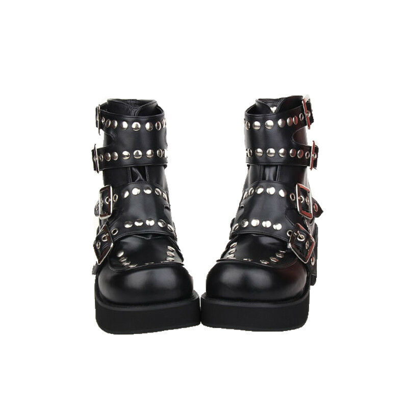 Lolita Punk Gothic Cosplay Bandage Rivet Ankle Stiefel Cosplay Schuhes P7003-6