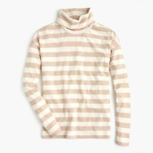 New-J-Crew-Womens-Deck-Striped-Turtleneck-Shirt-Long-Sleeve-Sand-White-NWT