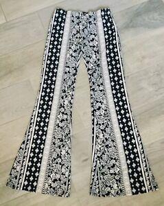 VIBE-Long-Athleisure-Pants-Flare-Black-amp-Ivory-Design-Elastic-Waist-Stretch-Med