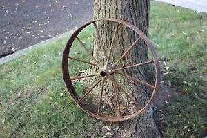 Antique-Wagon-Buggy-Automobile-Wheel-12-Spoke-Iron-25-3-4-034-Tall-2-Country-Decor
