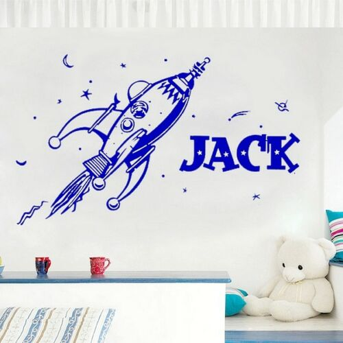 Rocket Retro Personalised Name Planets Cartoon Vinyl SPACE Wall Sticker Decal