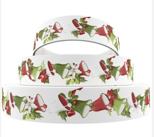 Sale 5 Yards 1 Inch White Printed Christmas Bells Holiday Grosgrain Ribbon Lisa